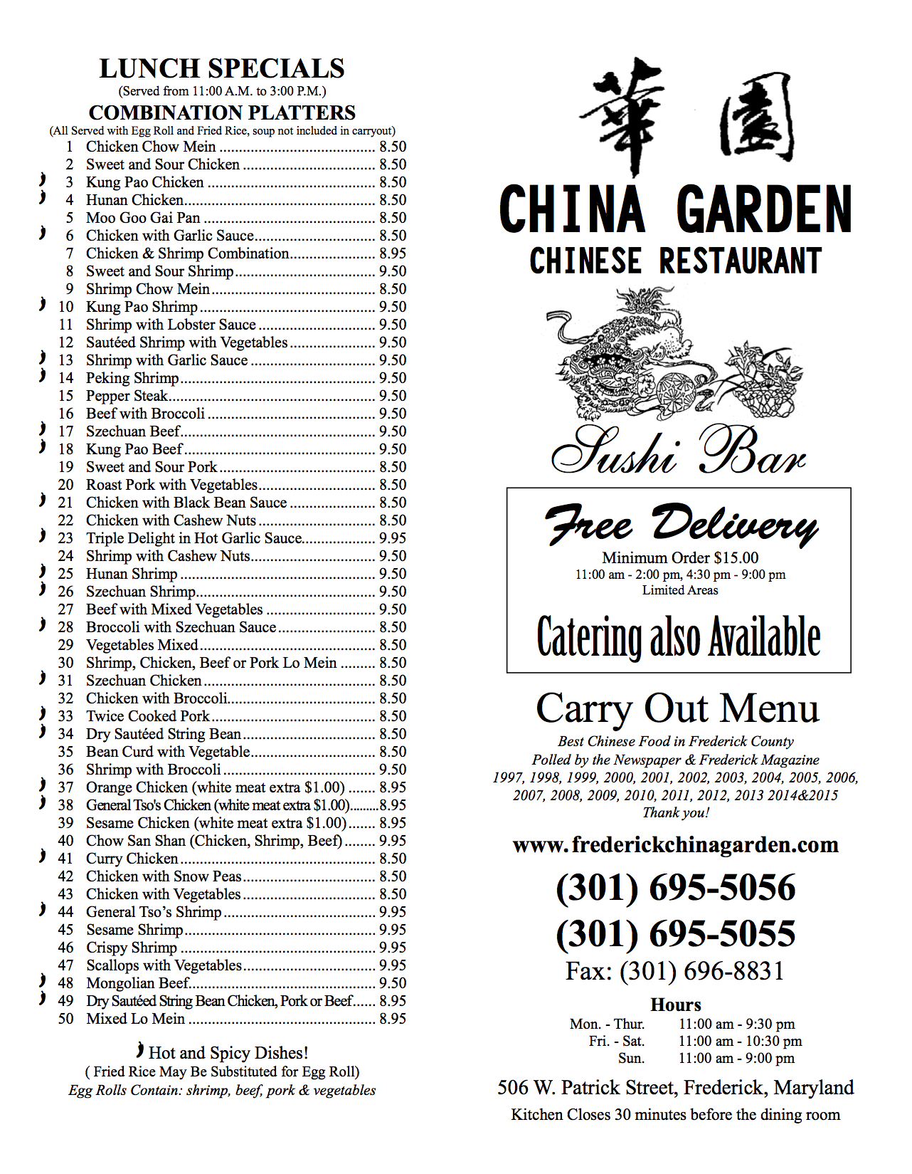China Garden Carry-Out Menu